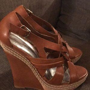 White House Black Market tan sandal wedges 6.5